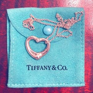 Tiffany Diamond Elsa Peretti Open Heart Necklace